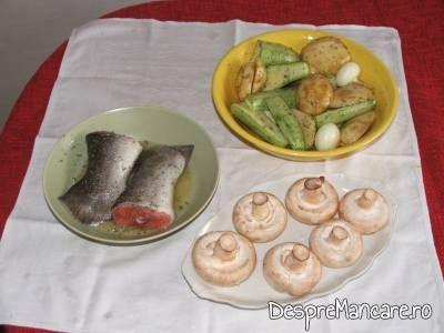 cozi de somon cu legume si ciuperci, la gratar