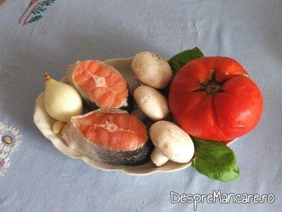cotlet de somon prajit, cu paste si ciuperci 1