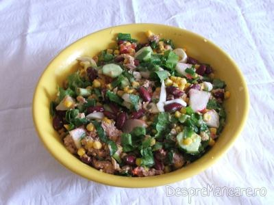 Salata de fasole boabe, porumb boabe si ton maruntit