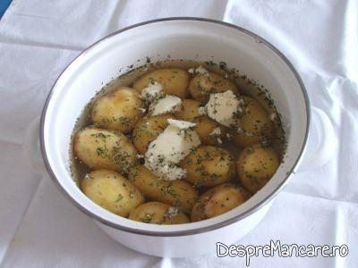 Pulpe de pui la gratar, cu cartofi natur si dovlecei trasi in unt