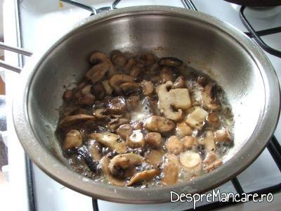 Piept de gaina, cu ciuperci, in sos de vin si smantana