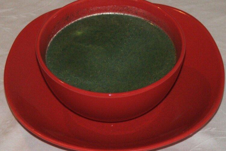 Supa crema de urzici servita simpla, ca pentru post.