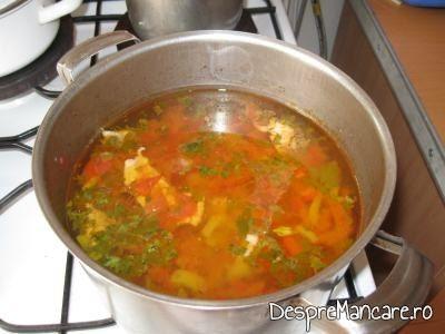 Legumele calite se fierb impreuna cu carnea pentru ciorba dulce de curcan.