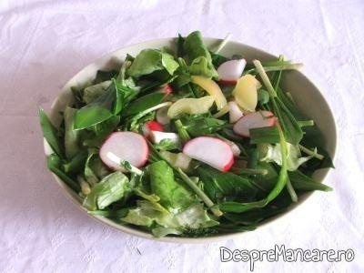 Salata de leurda, salata verde si ridichi de luna pentru drob din maruntaie de curcan.