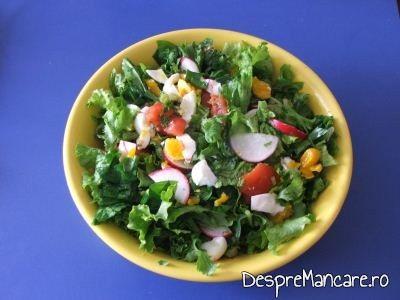 Salata verde cu leurda, ridichi si ou fiert se serveste la gusa de curcan umpluta cu 3 feluri de carne.