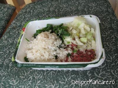 Carnea de curcan se amesteca cu orez si ceapa pentru sarmale din carne de curcan.