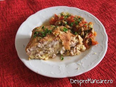 Mancarica de ciuperci albe - garnitura la creier de porc in aluat, la cuptor.