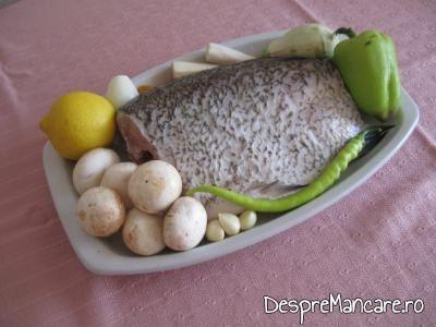 Ingrediente pentru platica cu legume la cuptor.