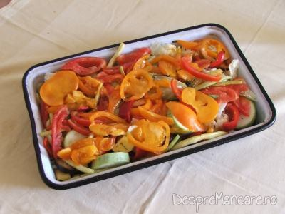 Ingrediente asezate in tava pentru ghiveci grecesc de legume.