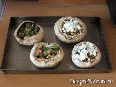 Umplutura de ciuperci calite si branza rasa asezate in palriile ciupercilor pentru ciuperci invelite in  costita afumata, la cuptor.