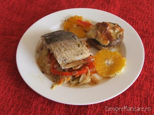 Crap cu legume, lamai si portocale la cuptor.