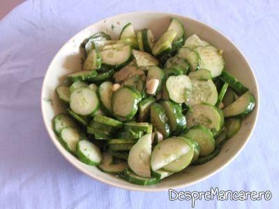 Salata de castraveti pentru ghiveci de legume mediteranian cu piept de curcan.