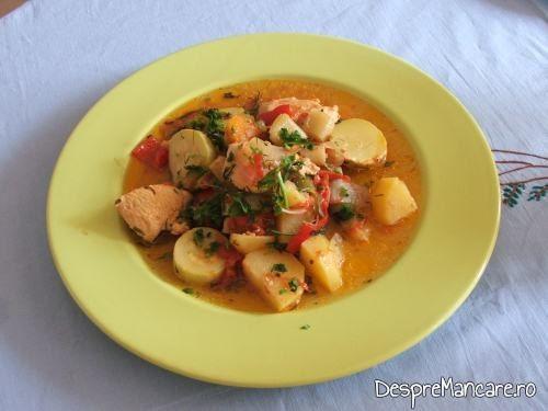 Ghiveci de legume in stil mediteranian, cu piept de curcan.