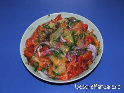 Salata de ardei copti, cu ceapa pentru fleica de porc cu sorici, la gratar, cu paste fainoase.
