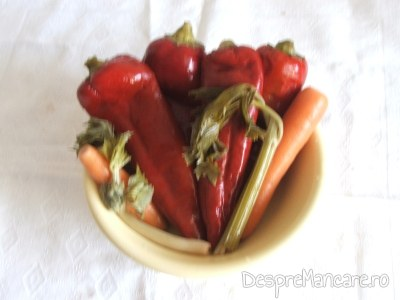Muraturi asortate in otet pentru pulpe de gaina cu legume la cuptor.