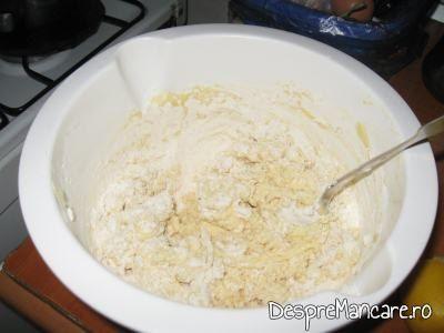 Faina se adauga treptat in amestecul de oua, branza dulce, iaurt pentru gogosele.
