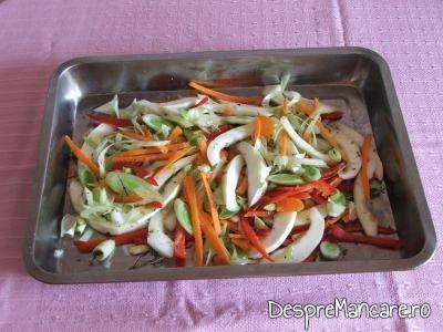 Legume feliate si taiate apoi sub forma de betisoare pentru pastrav umplut cu creveti plus legume la cuptor, cu sos de iaurt si castraveti.