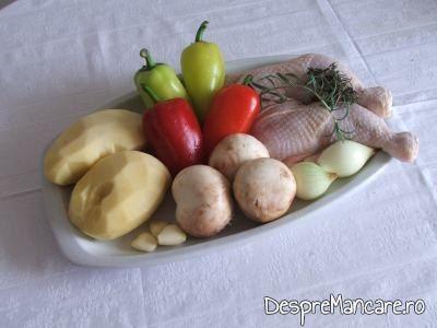 Ingrediente de trebuinta pentru pulpe de gaina cu legume si ciuperci la cuptor.