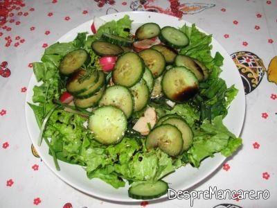 Salata pentru rulada din piept de curcan, cu paste, ciuperci si masline.