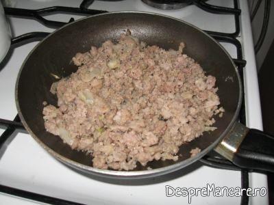 Umplutura din carne tocata calita impreuna cu ceapa, pentru pateuri.