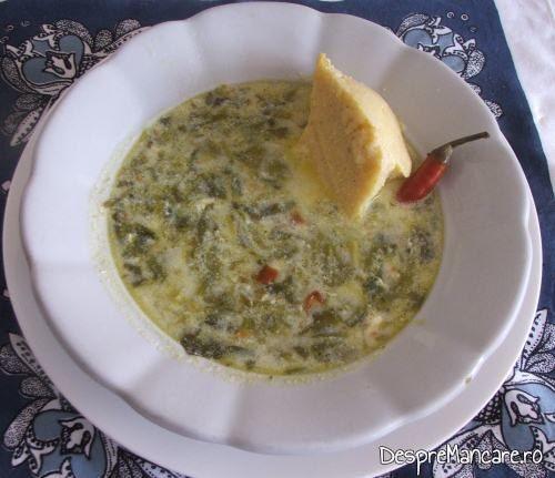 Ardei iute si mamaliga rece pentru ciorba de loboda, leurda si salata verde, cu ou si smantana.