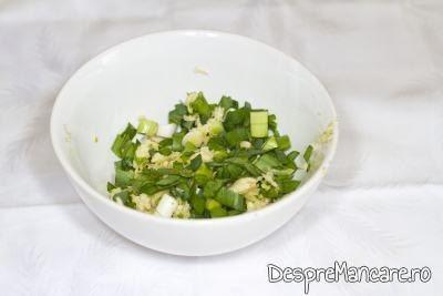 Usturoiul uscat, pisat si usturoiul verde, tocat fin, se amesteca pentru mujdei din usturoi uscat, usturoi verde si iaurt.