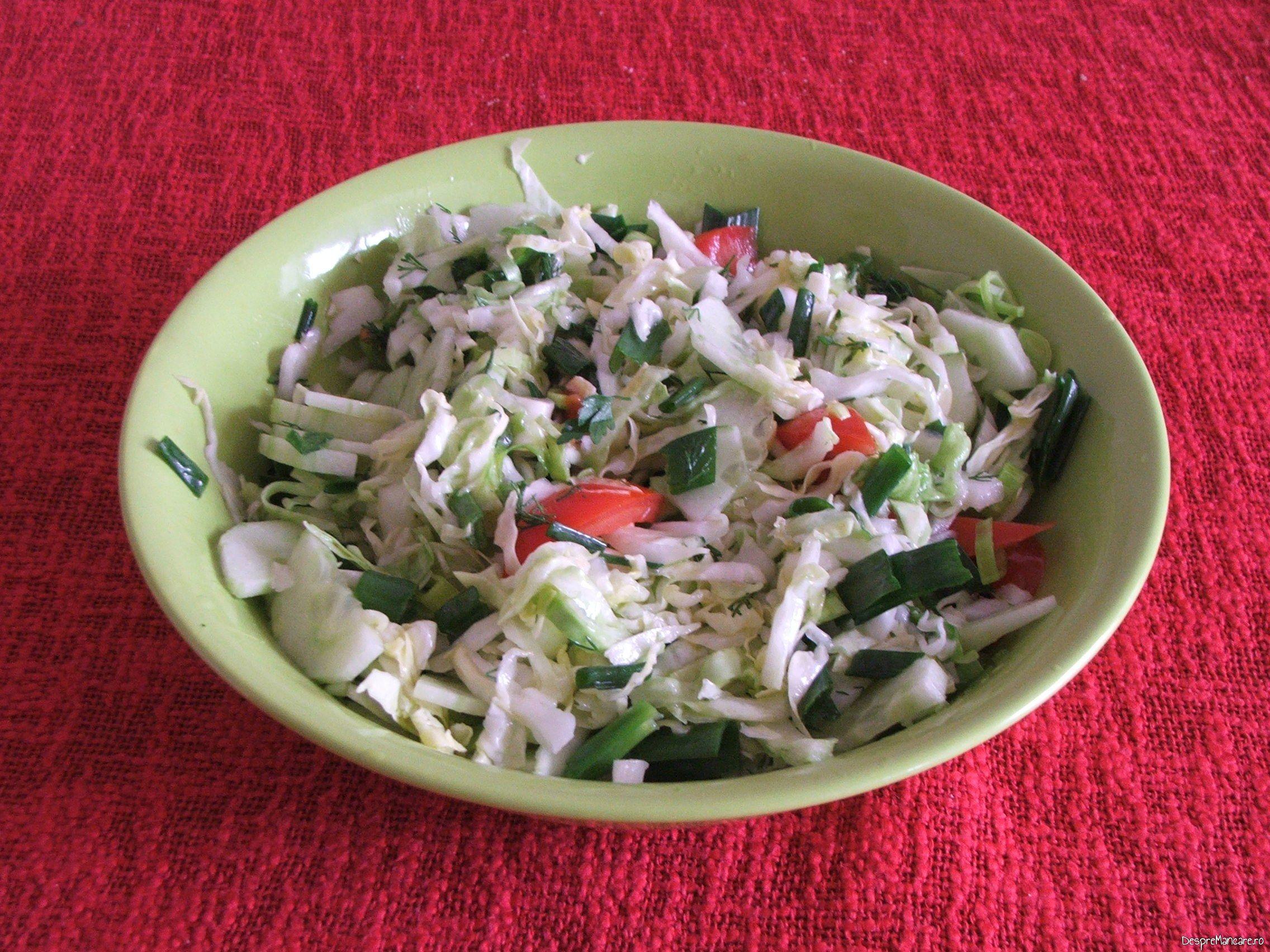 Salata de varza noua, rosii si castraveti pentru ochiuri cu cascaval afumat si paine prajita.