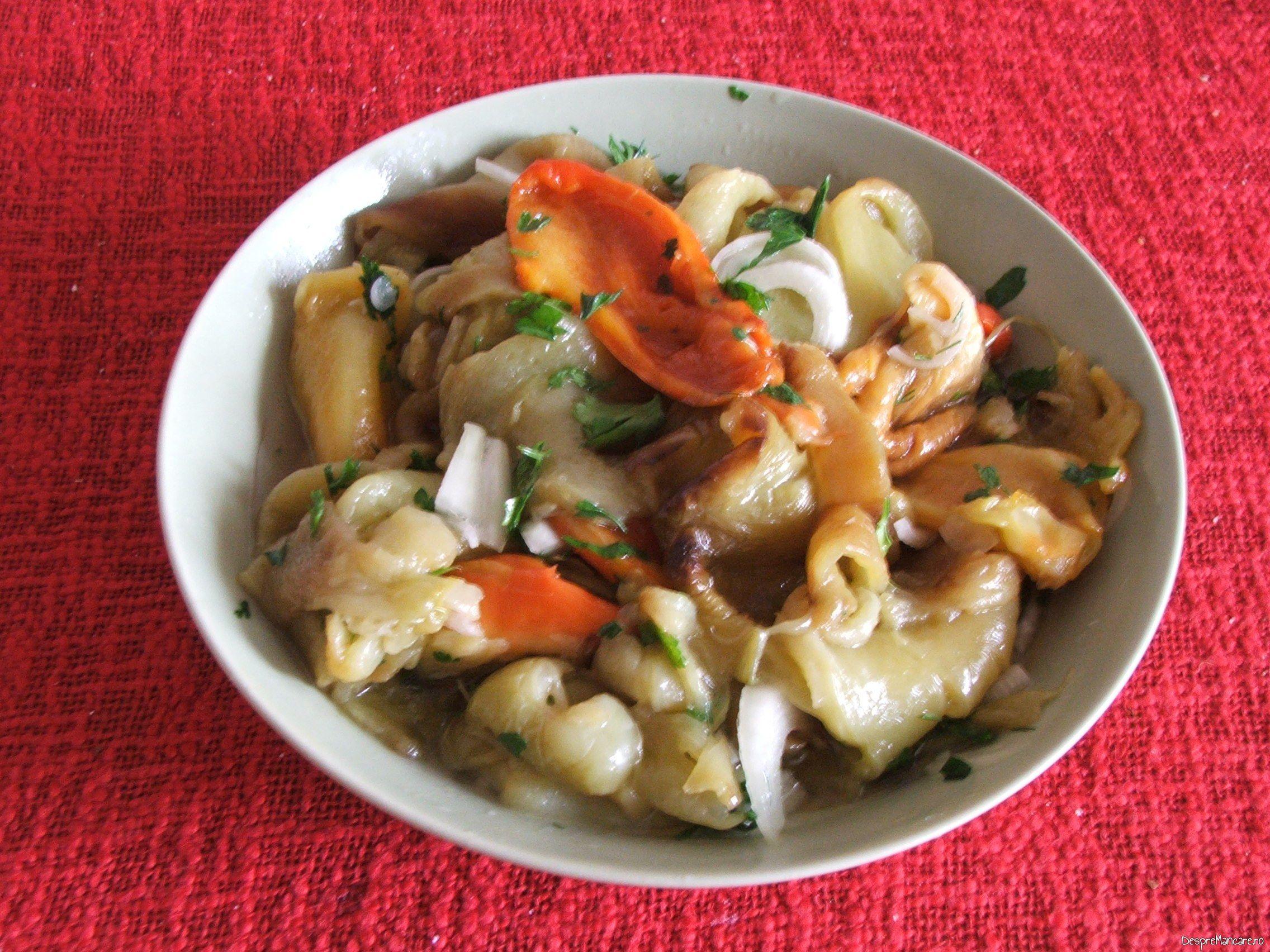 Salata de ardei copti, cu ceapa servita la friptura de pui/ curcan, cu garnitura de chiftelute din legume, la cuptor.