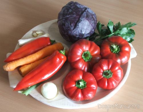 Ingrediente pentru gogosari umpluti cu varza rosie.