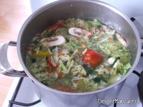 Ingredientele pentru ciorba de varza noua si ciuperci care se calesc impreuna.