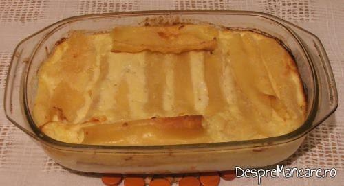 Paste caneloni umplute cu branza.