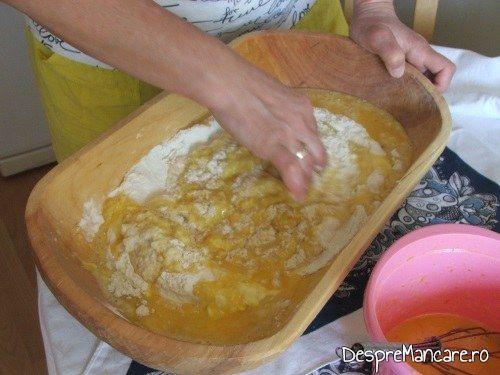 Se incepe framantarea cozonacului plecand de la maia, faina si ouale batute cu zahar si lapte cald.