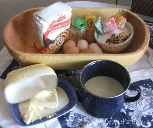 Ingrediente pentru cozonac - faina, oua, drojdie, unt, lapte, zahar, miroase, rahat, coaja de lamaie, nuci.
