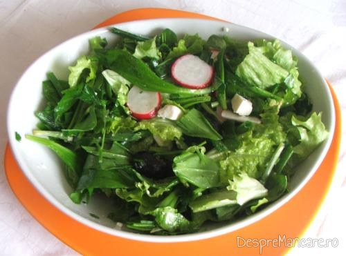 Salata de sezon servita la rulada din piept de curcan umplut cu cascaval, invelit in prosciuto.