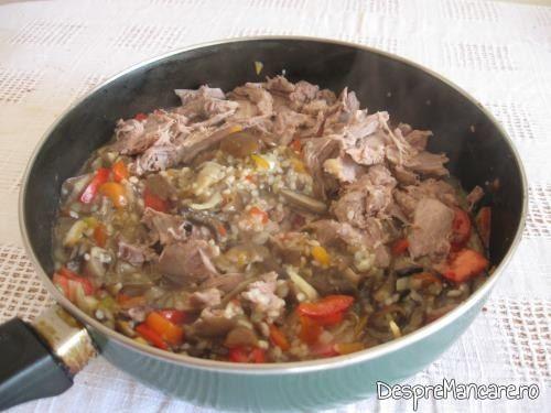 Amestecul gata pregatit pentru umplut legume cu carne si ghebe.