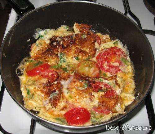 Omleta cu rosii este gata pregatita.