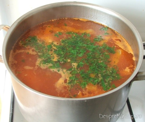 Supa de gaina cu rosii si galuste, gata pregatita.