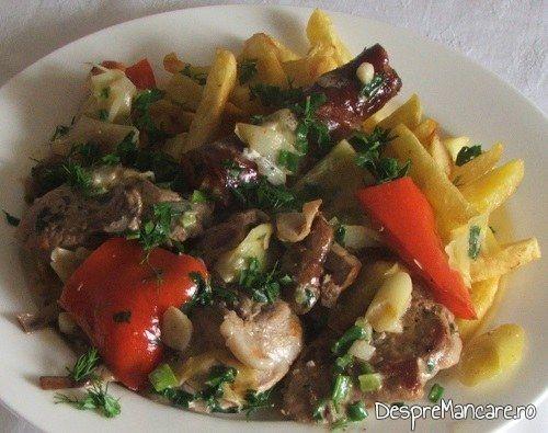 Muschiulet si carnat de porc cu legume, la tigaie, in sos de smantana.