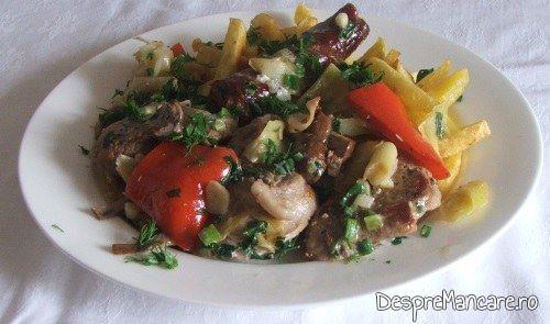 Muschiulet si carnat de porc cu legume, la tigaie, in sos de smantana, gata preparat.