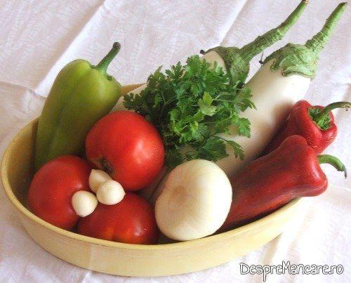 Ingrediente de trebuinta pentru vinete impanate cu legume, la cuptor.