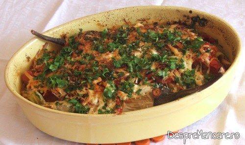 Vinete impanate cu legume, la cuptor gata preparate.