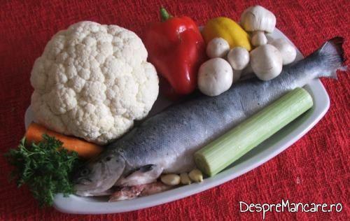Ingrediente de trebuinta pentru somon la cuptor cu legume si ciuperci la tigaie.