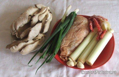 Ingrediente de folosinta utilizate pentru tocanita din piept de pui, praz si pleorotus.