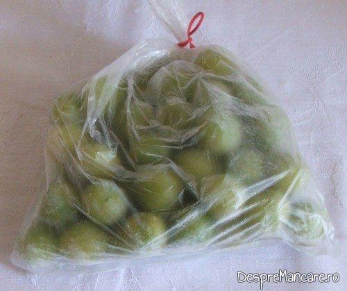 Zarzane (corcoduse verzi) congelate, din care se pregateste acreala pentru  ciorba din scarita proaspata de porc, acrita cu zeama de zarzane.