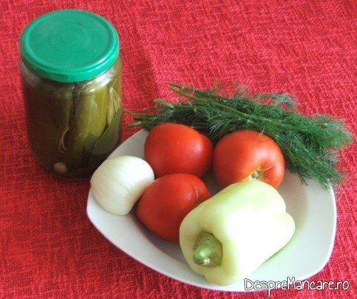 Ingrediente de trebuinta pentru mancare de castraveti cu pulpe de rata.