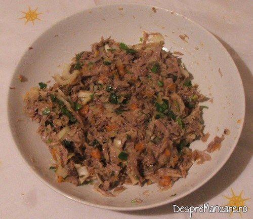 Legume si carne de vitel, fierte, oua si condimente, amestecate pentru terina din costita si carne afumata de porc, legume si carne de vitel, fierte.
