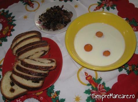 Lapte dulce, usor incalzit, oua de gaina, stafide pentru tort din cozonac invechit, cu frisca.