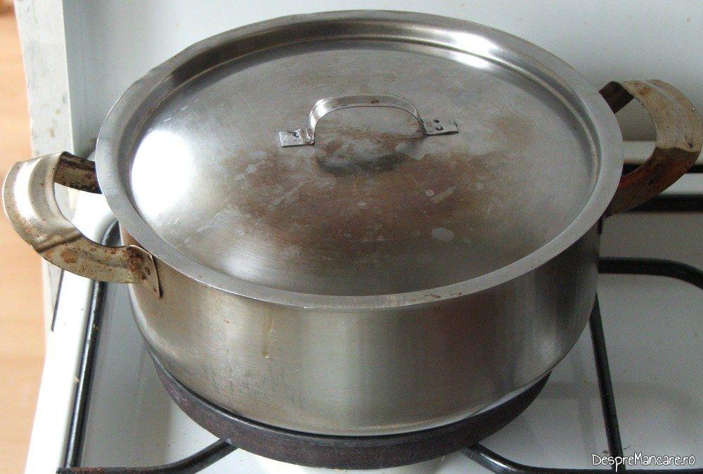 Cratita acoperita cu capac, in care se pregateste iepure cu legume in sos de vin.