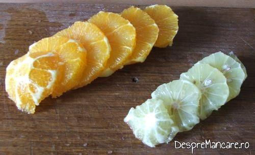 Citrice curatate de coaja si de albeata amara, feliate, pentru gasca cu portocale.