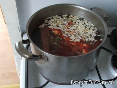 Ceapa si legume adaugate in apa cu carne fiarta pentru ciorba din scarita de porc afumata.